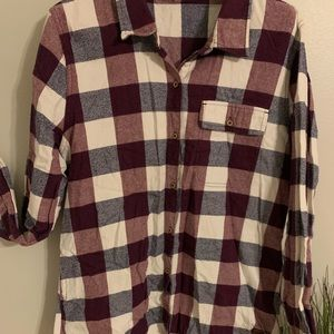 Plaid Checkered Maroon Button Up Flannel
